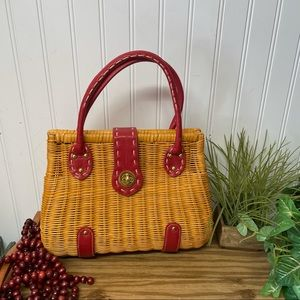 Wicker Red and Tan Purse